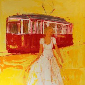 Lady and tram