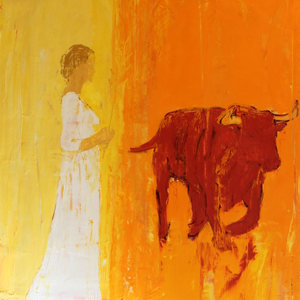 Lady and bull
