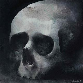 Łukasz Huculak : Auf eine aus einem Schädel geformte Schale