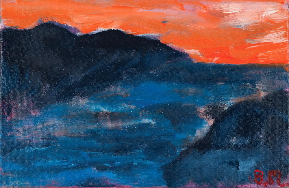 Zachód słońca | Sunset | Sonnenuntergang, 2016, 27 × 41 cm