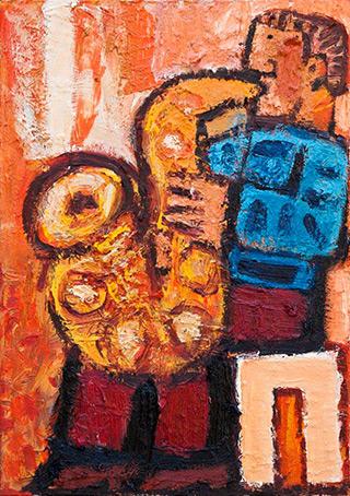 Krzysztof Kokoryn : A Sitting Sax Player : Oil on Canvas