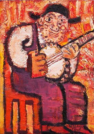 Krzysztof Kokoryn : Banjo Player : Oil on Canvas