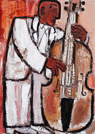 Krzysztof Kokoryn : Bass Player In A White Suit : Oil on Canvas