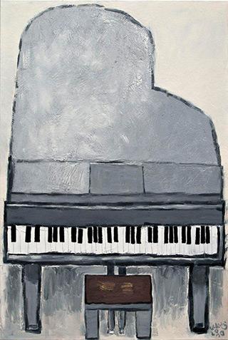 Krzysztof Kokoryn : Grey Grand Piano : Oil on Canvas
