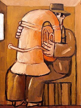 Krzysztof Kokoryn : Indoor Tuba Player : Oil on Canvas
