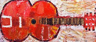 Krzysztof Kokoryn : Red Guitar : Oil on Canvas