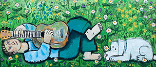 Krzysztof Kokoryn : Guitar Player In The Meadow : Oil on Canvas