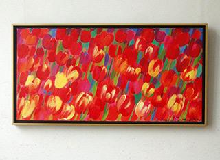 Beata Murawska : Red in the garden : Oil on canvas