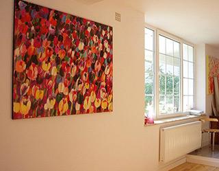 Beata Murawska : Windy tulips field : Oil on canvas