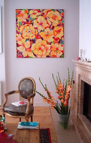 Beata Murawska : Yellow flowers : Oil on canvas