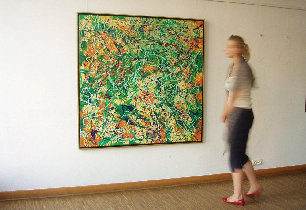 Edward Dwurnik : Green abstract painting