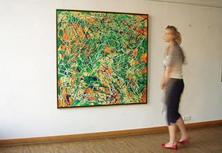 Edward Dwurnik : Green abstract painting : Oil on canvas