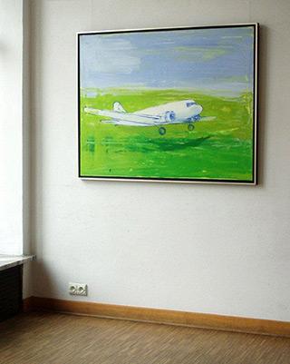 Jacek Łydżba : Green landing field : Oil on canvas