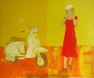 Jacek Łydżba : Lady with scooter : Oil on canvas