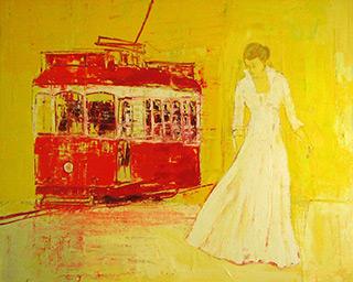 Jacek Łydżba : Women and the tram : Oil on canvas