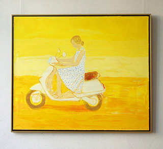 Jacek Łydżba : Young woman with scooter : Oil on canvas
