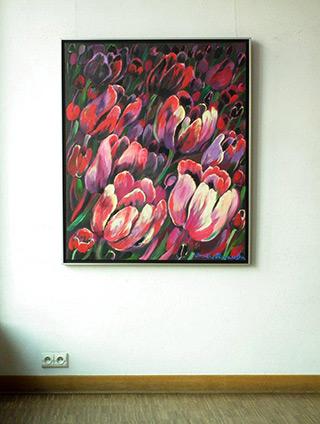 Beata Murawska : Dark tulips : Oil on Canvas