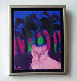 Beata Murawska : Pink cat : Oil on Canvas