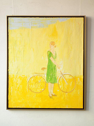 Jacek Łydżba : Green dressed lady with bicycle : Oil on Canvas