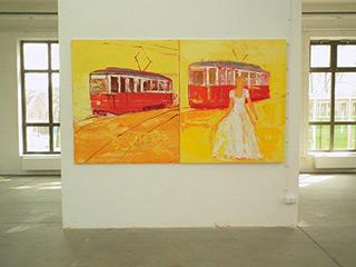 Jacek Łydżba : Lady and two trams : Oil on Canvas