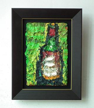 Krzysztof Kokoryn : Bottle on the green background : Oil on Canvas