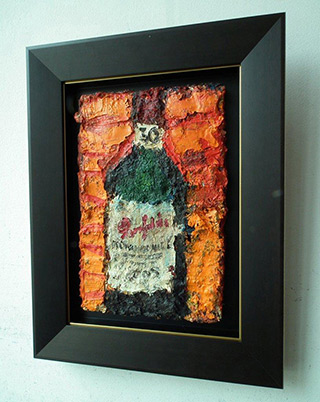 Krzysztof Kokoryn : Bottle on the orange background : Oil on Canvas