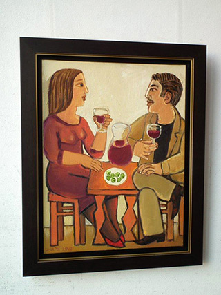 Krzysztof Kokoryn : Couple at the table : Oil on Canvas