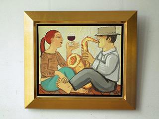 Krzysztof Kokoryn : Wine and saxophone : Oil on Canvas
