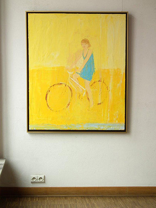 Jacek Łydżba : Cyclist in blue dress : Oil on Canvas