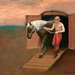 Katarzyna Karpowicz : Boy and horse : Oil on Canvas