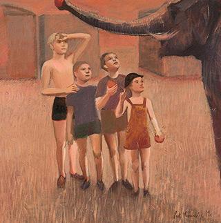 Katarzyna Karpowicz : Boys feeding elephant : Oil on Canvas