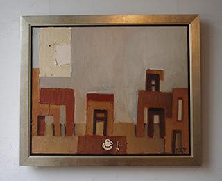 Krzysztof Kokoryn : Gray Cafe : Oil on Canvas