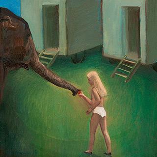 Katarzyna Karpowicz : Girl and elephant : Oil on Canvas
