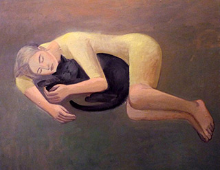 Katarzyna Karpowicz : Girl with cat : Oil on Canvas