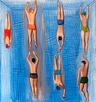 Katarzyna Karpowicz : Large swimming pool : Oil on Canvas