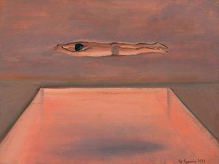 Katarzyna Karpowicz : Swimmer over pool : Oil on Canvas