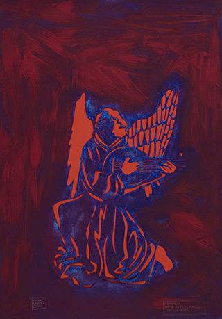 Jacek Łydżba : An Angel Playing the Lute (after Hans Brüggemann) : Pattern, paper, enamel