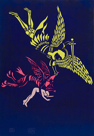 Jacek Łydżba : An Angel, a Devil, a Man (after a print from the National Library of France in Paris) : Pattern, paper, enamel