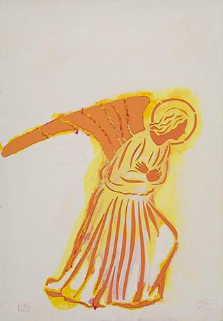 Jacek Łydżba : Gabriel the Archangel (after Fra Angelico) : Pattern, paper, enamel