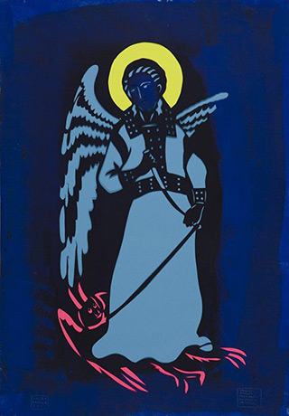 Jacek Łydżba : Saint Michael the Archangel (after Ridolfo Guariento) : Pattern, paper, enamel