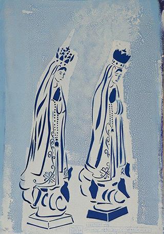 Jacek Łydżba : Two Figures of Our Lady of Fátima : Pattern, paper, enamel