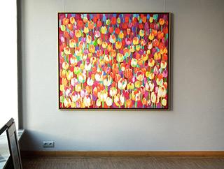 Beata Murawska : August field of tulips : Oil on Canvas