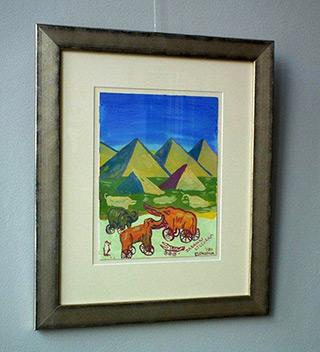 Edward Dwurnik : Elephants at the pyramids : Oil on Canvas