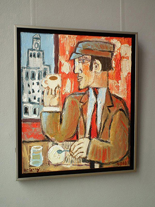 Krzysztof Kokoryn : Coffee with a view of the palace : Oil on Canvas