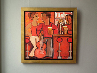 Krzysztof Kokoryn : In the red bar : Oil on Canvas