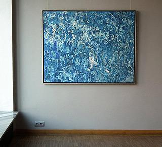 Edward Dwurnik : Blue pogo : Oil on Canvas