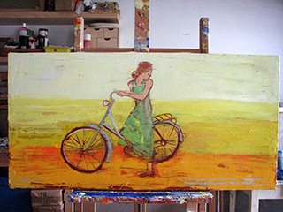 Jacek Łydżba : Cyclist In A Green Dress : Oil on Canvas