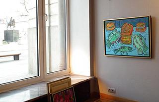 Edward Dwurnik : Bread, fish and wine : Oil on Canvas