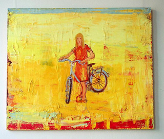 Jacek Łydżba : Girl With Bicykle : Oil on Canvas