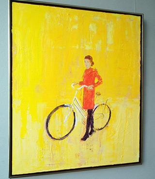 Jacek Łydżba : Biker in black stockings : Oil on Canvas